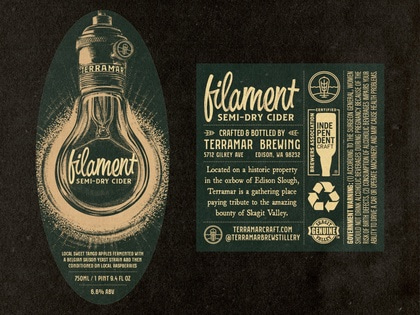 Filament Cider digital painting 2d raspberry apple brewery brewing ale hard cider beer can bottle packaging label illustration vintage retro edison bulb light